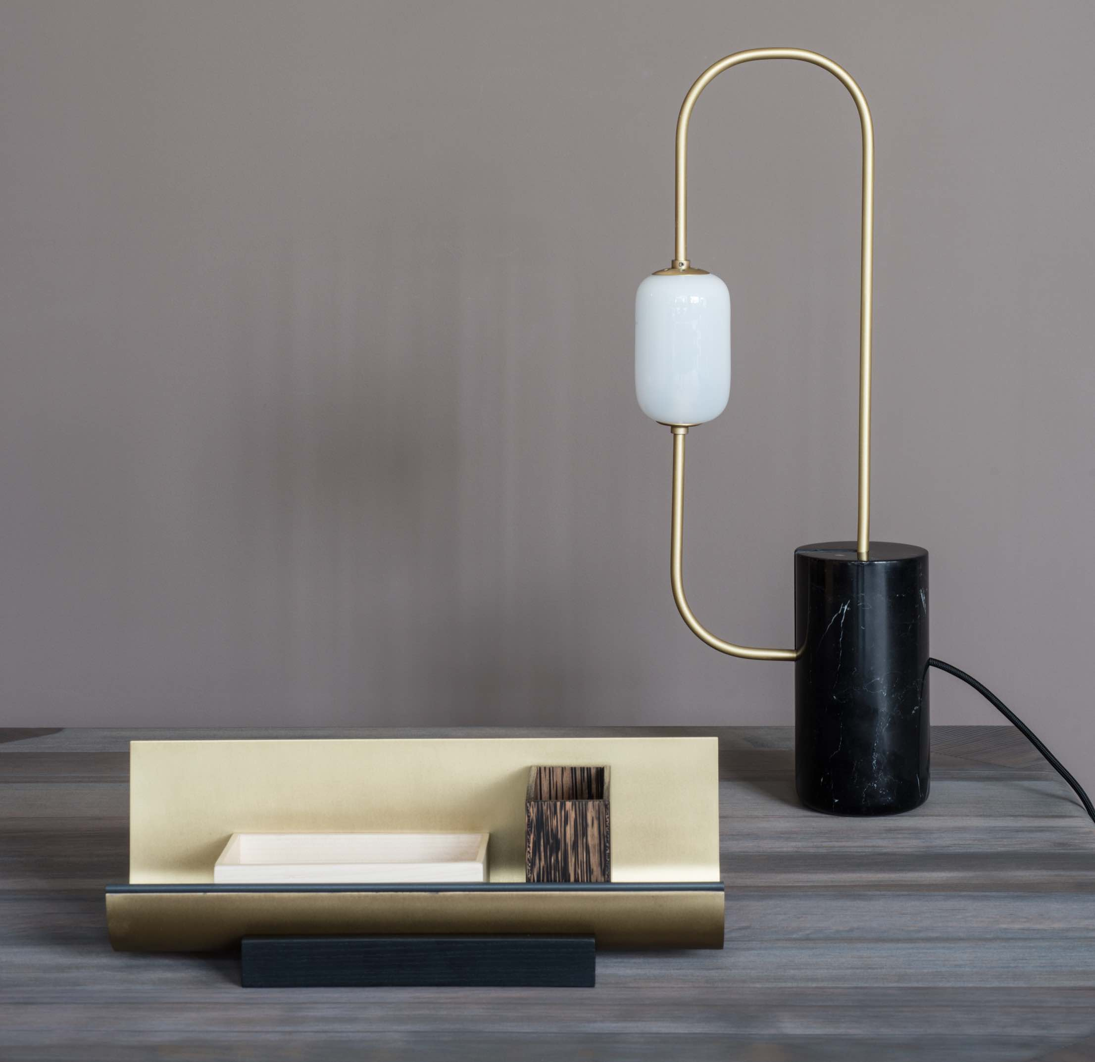lamp, table lamp, lighting, Dan Yeffet, Collection Particulière, black marquina marble, brushed brass