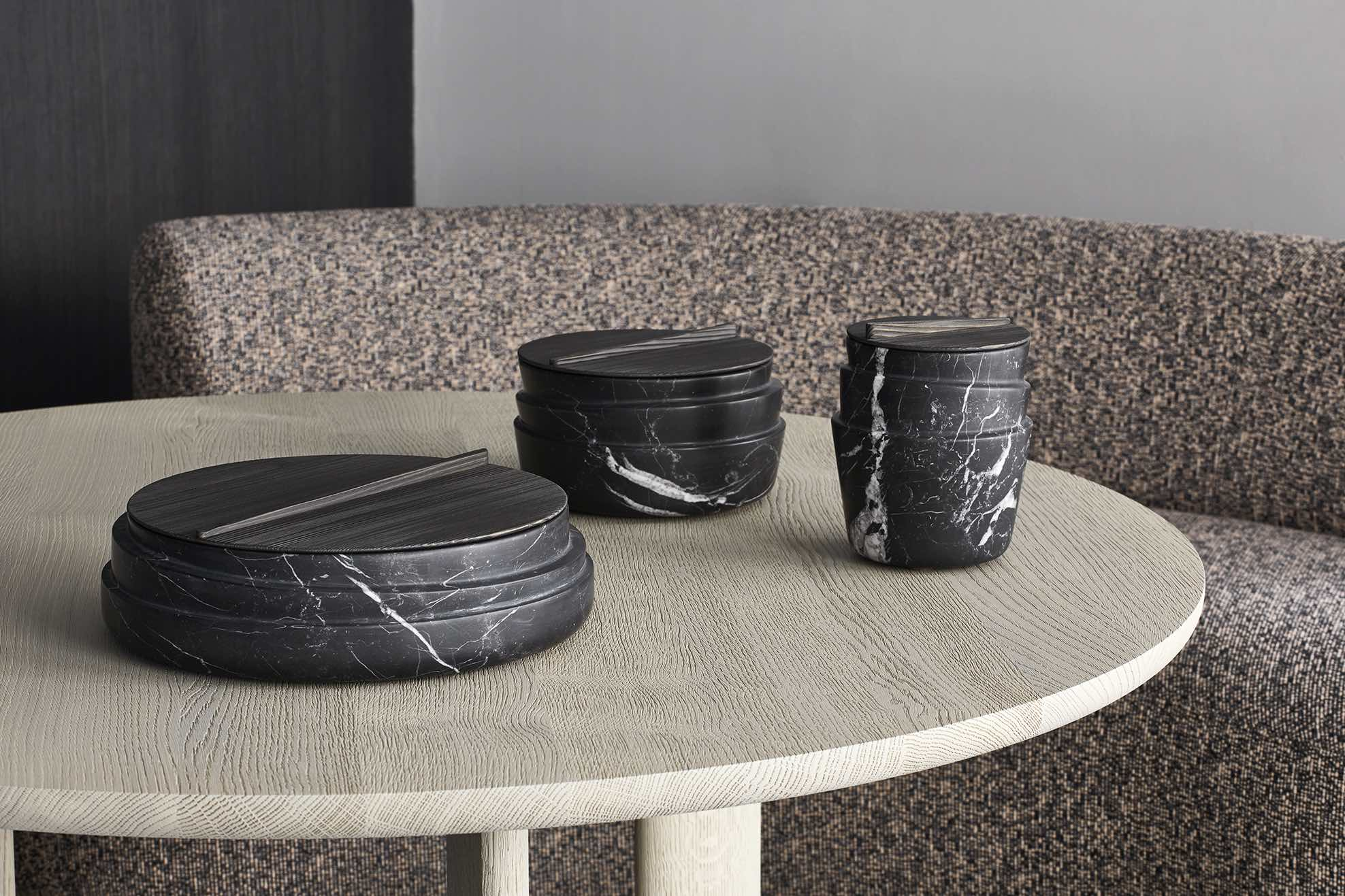 STCKD containers, design Dan Yeffet, boxes in Black Marquina marble, lids in brushed spruce, Collection Particulière